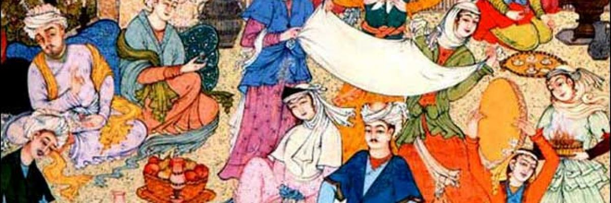 Iranian wedding ceremony on an Iranian Painting. Licence CC:BY, source [Wikimedia]