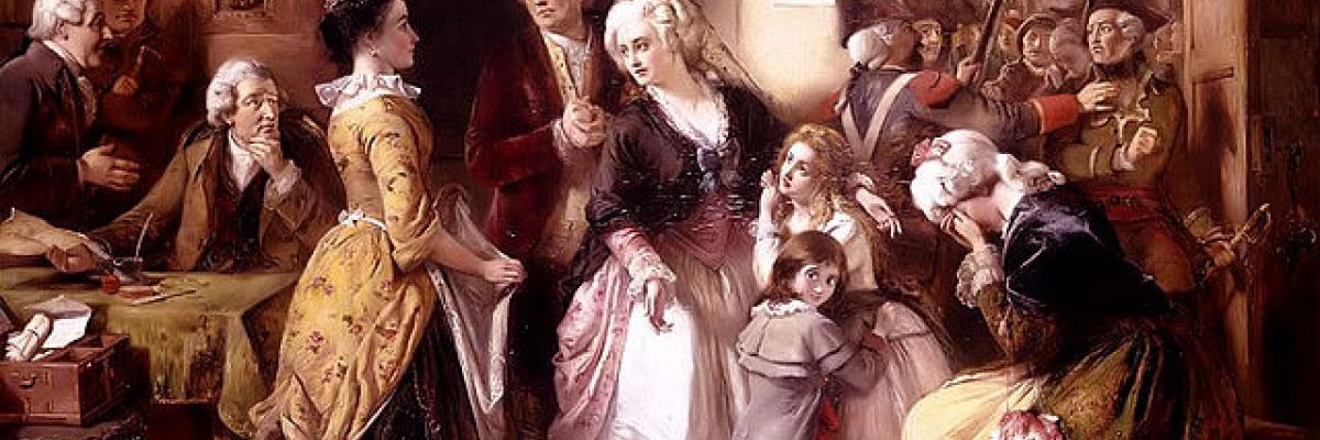 L'arrestation du roi et sa famille à Varennes. Source [Wikimedia commons]