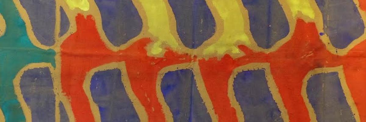 Acrylique sur bâche de Claude Viallat par Florent Paumelle (directeur de la Galerie Oniris) avec son aimable autorisation