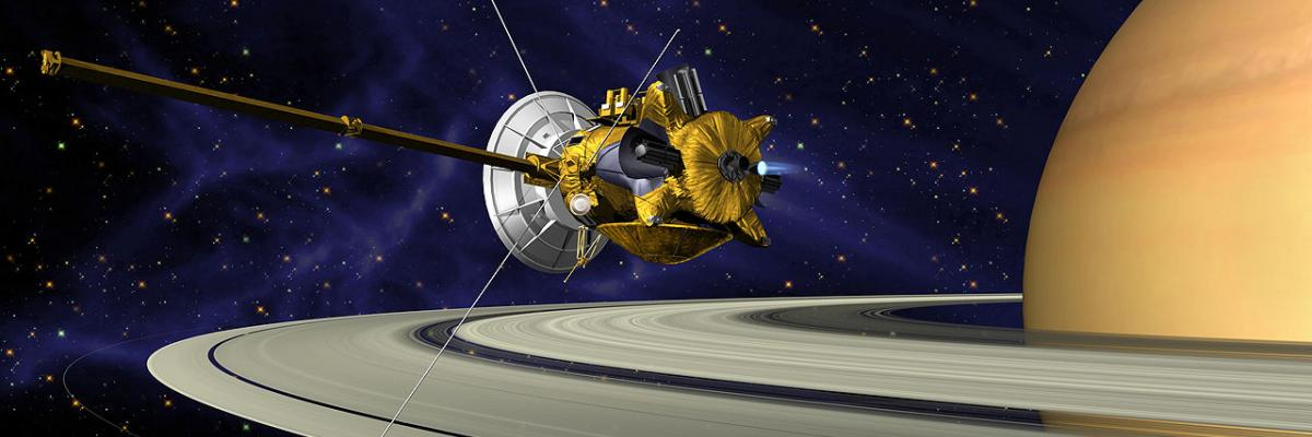 Cassini Saturn Orbit Insertion par NASA/JPL, domaine public. Source [Wikimedia Commons]