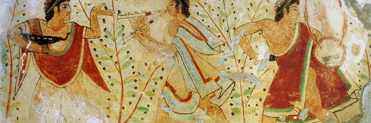 Danseurs et musiciens, tombe des léopards, domaine public. Source [Wikimedia Commons]