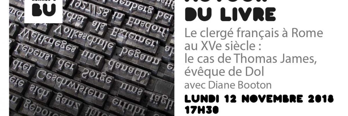 Visuel de la rencontre autour du livre du 12/11/2018 - BU Rennes 2