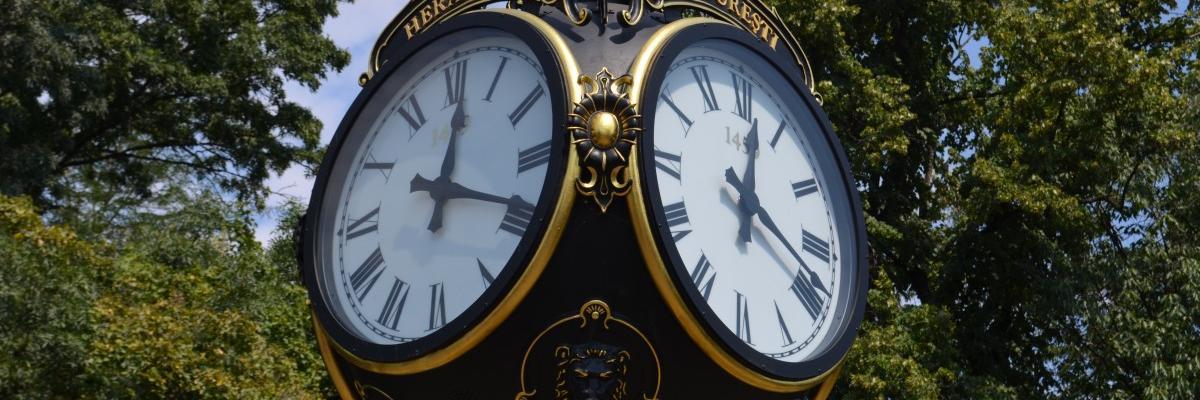 Horloge publique de Bucarest par Razvan Cimpeanu, licence CC0. Source [pxhere]
