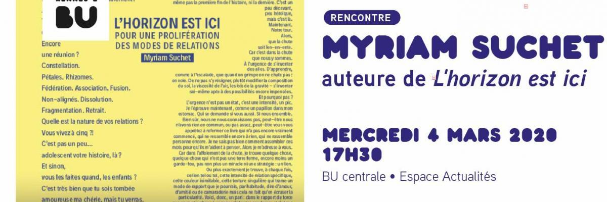 Affiche de la rencontre avec Myriam Suchet - BU Rennes 2