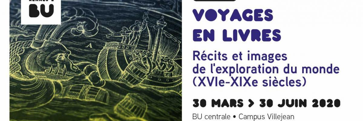 Visuel de l'exposition Voyages en livres - BU Rennes 2