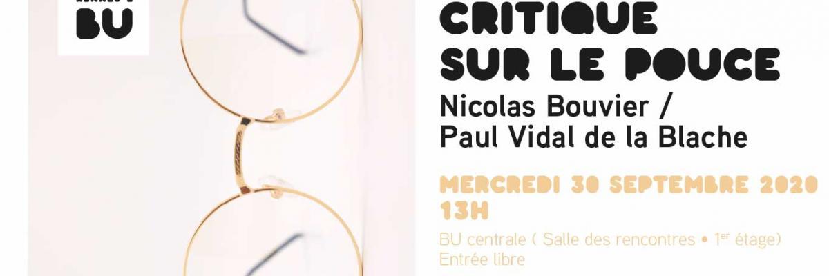 Affiche Critique sur le pouce du 30 sept. 2020 - BU Rennes 2