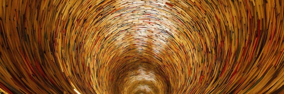 Idiom, la sculpture qui forme l'illusion d'un puits sans fonds de livres à la bibliothèque municipale de Prague, licence CC0. [Source : Pixabay]
