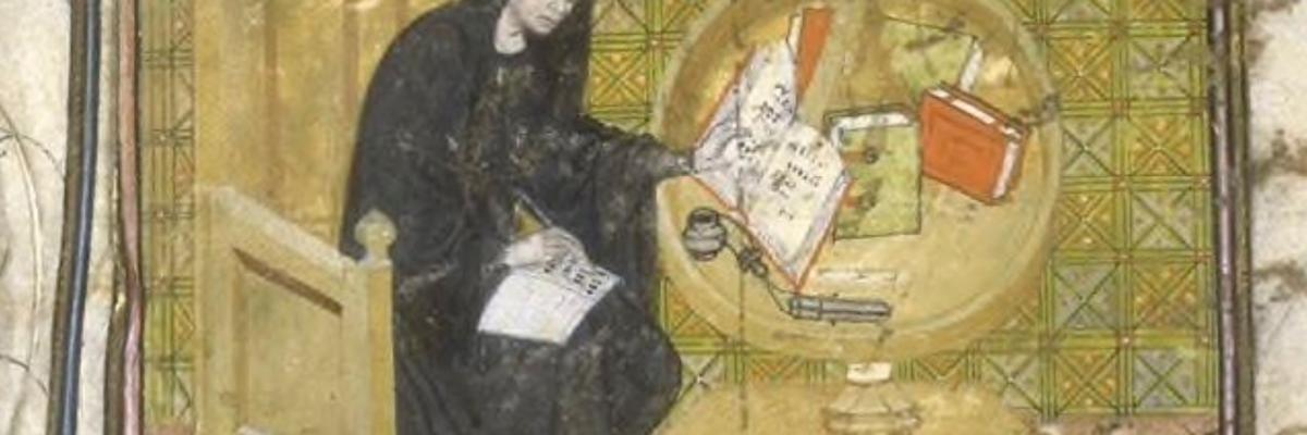 Primat rédigeant les Grandes Chroniques de France, vers 1300, domaine public. Source [Gallica]