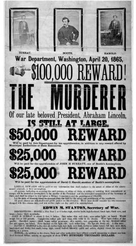 Joohn Wilkes Booth wanted poster. Public Domain. Source [Wikimedia commons]