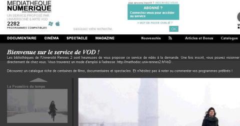 Page d'accueil de la plate-fome de VOD Rennes 2