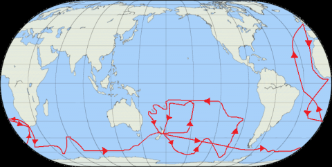 The route of Cook's second voyage par Jon Platek, licence CC : BY-SA 3.0. Source [Wikipedia]