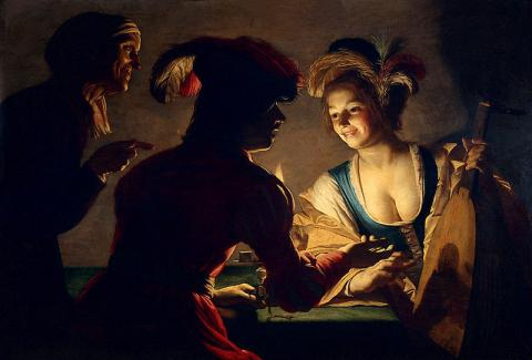 Gerrit van Honthorst, dit « Gérard de la nuit », L'Entremetteuse, 1625, huile sur toile, 71 × 104 cm, Utrecht, Centraal Museum. Source [Wikimedia Commons]
