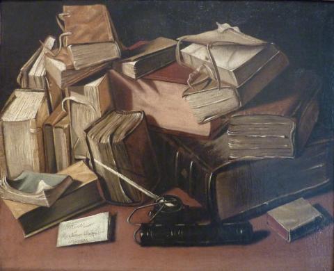 J. Bizet, Brou Nature morte aux vieux livres, licence CC: BY-SA.Source [ Wikimedia]