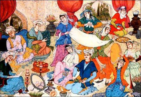 Iranian wedding ceremony on an Iranian Painting. Licence CC:BY, source [Wikimedia]