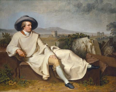 Johann Heinrich Wilhelm Tischbein - Goethe in the Roman Campagna - Google Art Project.jpg, domaine public. Source [wikmedia Commons]