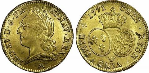 Double Louis d'or de Louis XV. Source [Wikimedia Commons]
