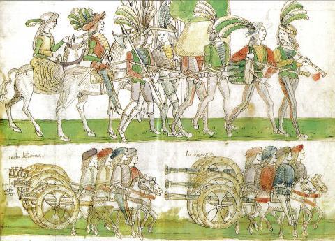 French troops and artillery entering Naples 1495 par Melchionne Ferraiolo, domaine public. Source [Wikimedia Commons]