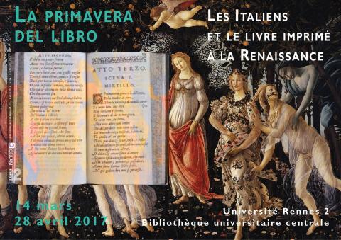 """BU Rennes 2. Affiche de l'exposition """"La primavera del libro"""""""