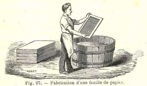 Papier fabrication, domaine public. Source [Wikimedia Commons]