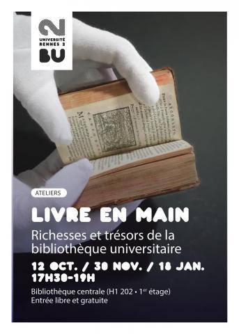 Affiche atelier Livre en main 2017. BU Rennes 2