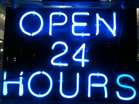 Open 24 Hours by Ged Carroll, licence CC:BY. Source [FLickr]
