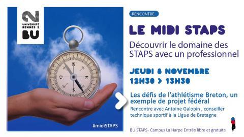 Affiche de la rencontre midi STAPS du 8 novembre 2018 - SCD Rennes 2