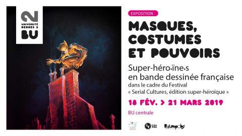 """Affiche de l'exposition """"Masques, costumes et pouvoirs"""" - SCD Rennes 2"""