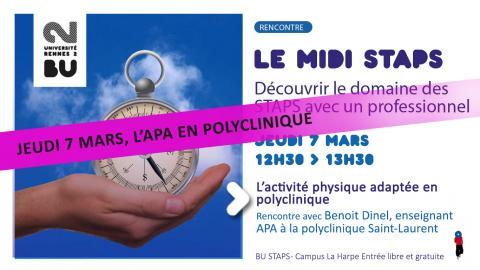 Visuel de la rencontre midi STAPS du 07/03/2019 - SCD Rennes 2