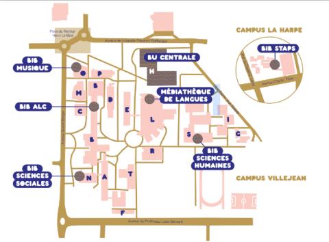 Plan du campus, SCD Rennes 2