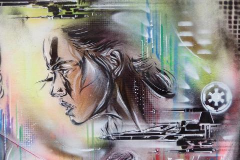 Daisy Ridley, Paul Don Smith stencil, Soho par duncan c, licence CC : BY-NC. Source [Flickr]