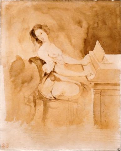 """""""L'amoureuse au piano"""" d'E. Delacroix (Petit Palais, Paris) par Jean-Pierre Dalbéra, licence CC : BY 2.0. Source [Flickr]"""