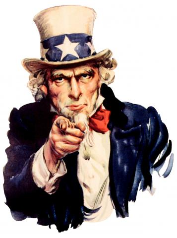 Uncle Sam needs YOU! Painted by : James Montgomery Flagg in 1916-1917 source: Wikimedia Commons