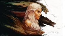 Game_of_thrones_Daenerys_Targaryen_art_fantasy_dragons par Andrew Willard, licence CC : BY-SA. Source [Flickr]