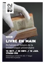Affiche ateliers Livre en main. BU Rennes 2