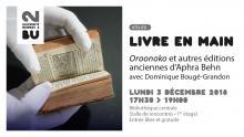 Visuel de l'atelier Livre en main du 3 décembre 2018 - BU Rennes 2